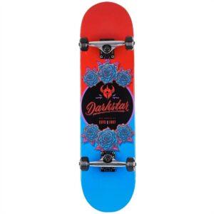 darkstar in bloom first push complete skateboard red/blue 8.0