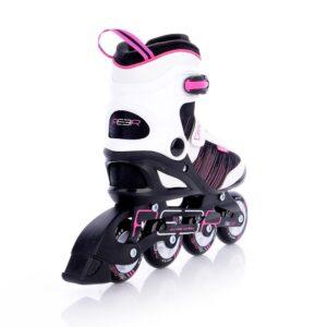 funactiv dames skeelers peer 3 zwart roze rem