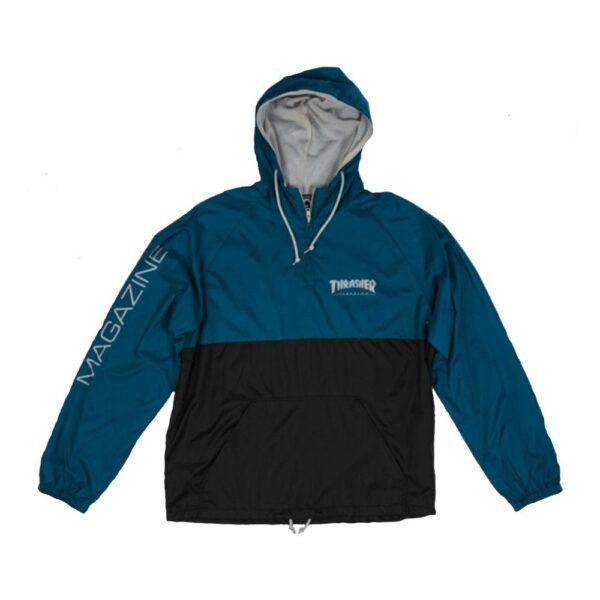 thrasher logo anorak blauw/grijs