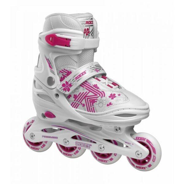 roces jokey 3 0 girl verstelbaar inline skate wit roze